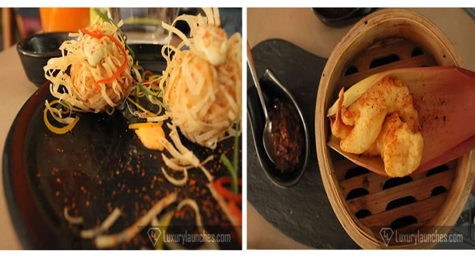 (left) Lepcha Special Chicken wrapped in Homemade Katifi and (right) Classic Prawn Tempura