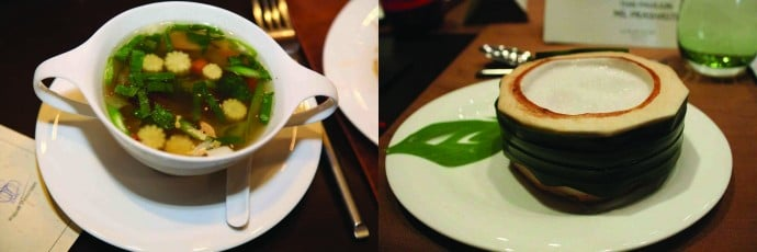 Must try- (left) light, soy-flavored and airy Gaengjeud, and (right) Thai dessert in a (coco) nutshell, Tub tim grob