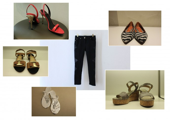 Clockwise from bottom-left: BCBG thong slippers, Salvatore Ferragamo sandals, Versace stilettos, Missoni flat pumps and Salvatore Ferragamo platform wedges; Versace pants (center)