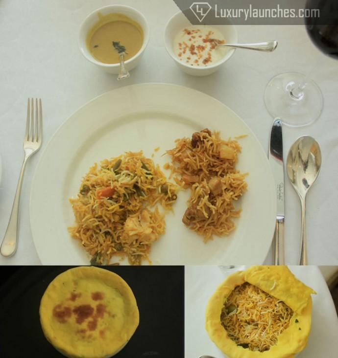 L to R(on plate): Sheesh Subz Pulao, Murgh ki Tehri Accompaniments (L to R): Chicken broth gravy + Roasted garlic curd