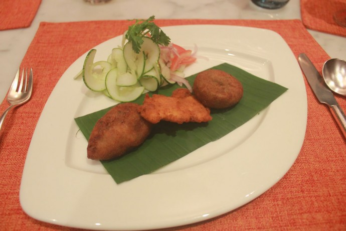 From Left: Chingri Machher Cutlet, Betki Machher Fry and Mochar Chop.