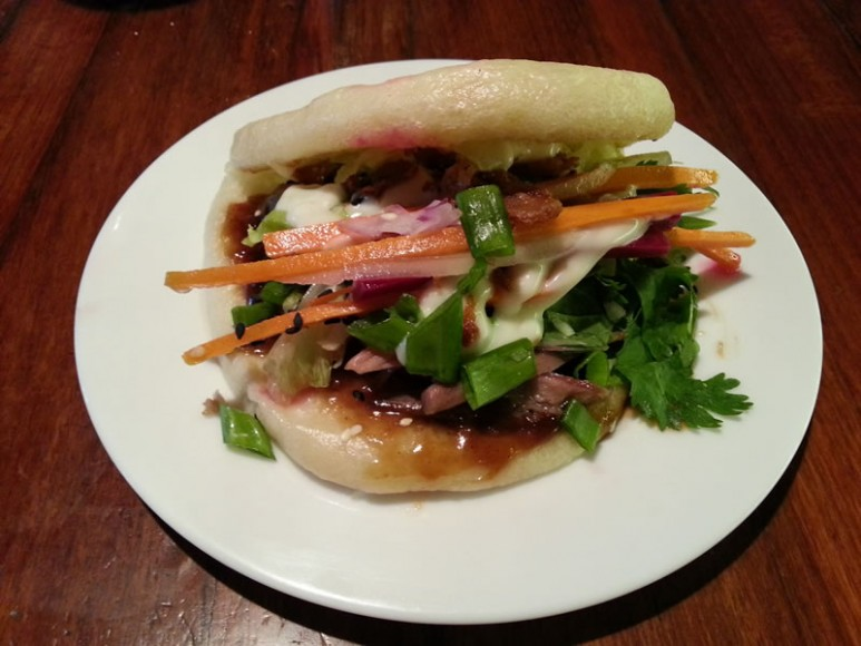 Duck Burger in a Steamed Bao