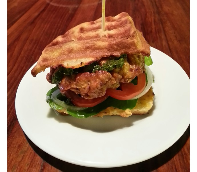 Waffle Sandwich with Crispy Chicken & Chimmichurri