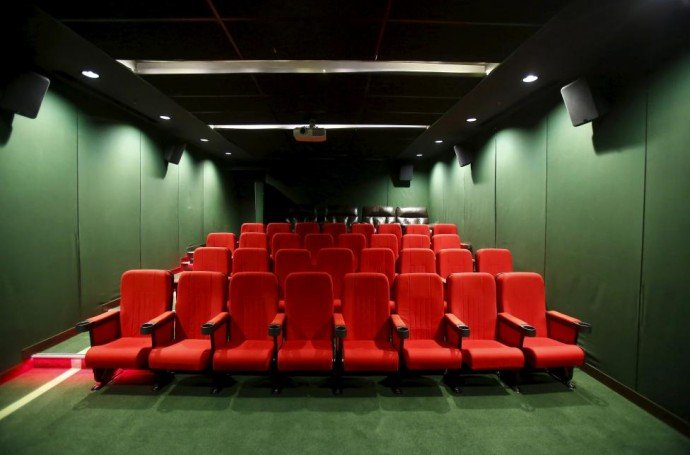 A vacant hall of a cinema theatre is pictured inside the premises of Fortis Memorial Hospital at Gurgaon
