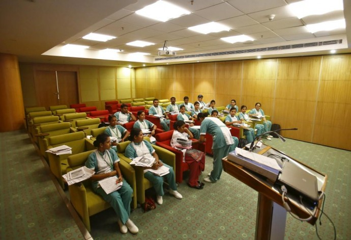 Nurses attend a training session at the Fortis Memorial Hospital at Gurgaon