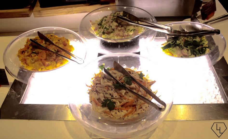 Salads (top clockwise) - Potato and Bacon, Yasai No Asazuke, Namasu, Kabocha