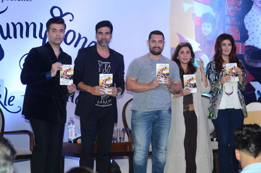 From L - R Karan Johar, Akshay Kumar, Aamir Khan, Dimple Kapadia, Twinkle Khanna