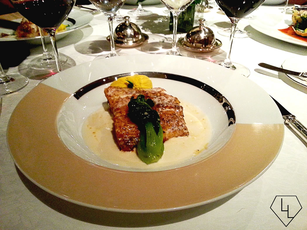 Our magnificent main: The Louisiana Spiced Cajun Sea Bass with Wilted Pakchoy and Champagne Beurre Blanc
