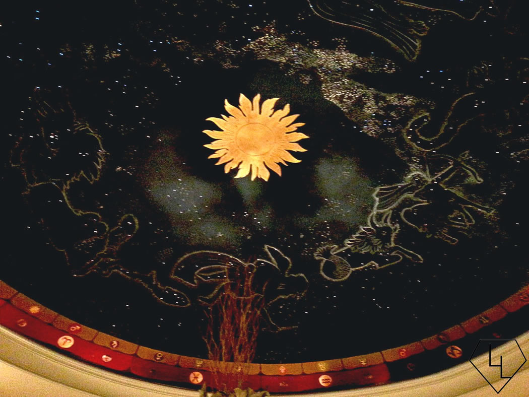 Looking up: The beautiful domed ceiling with the signs of the Zodiac.