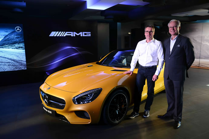 L-R Racing Legend Bernd Schneider with Roland Folger, MD & CEO, Mercedes-Benz India at the Launch of AMG GT S in New Delhi
