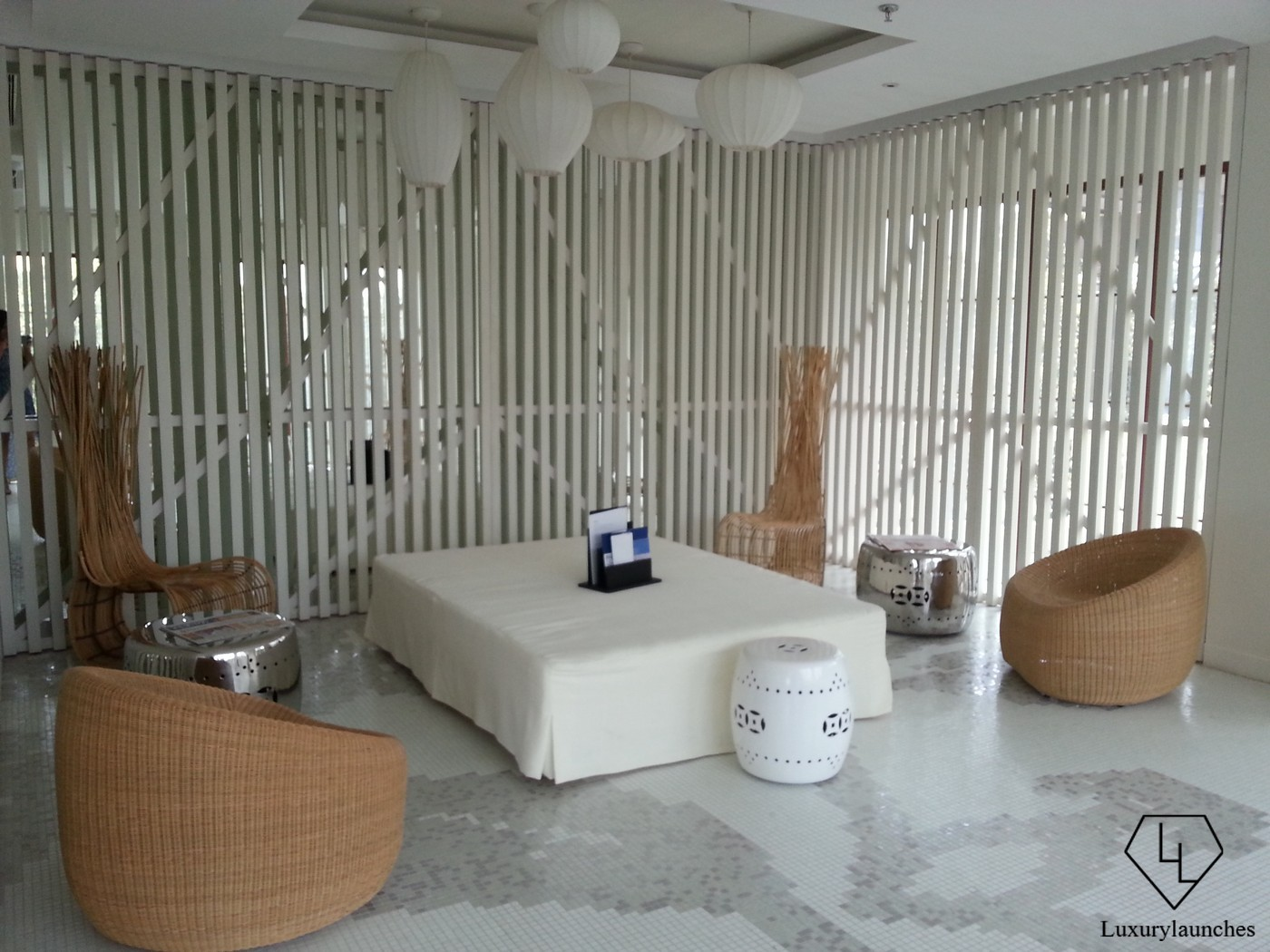 Waiting area at Explore, the spa
