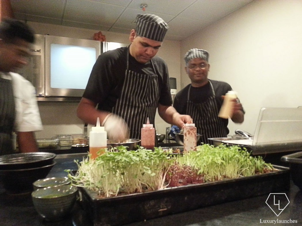 Happy chefs in the live kitchen
