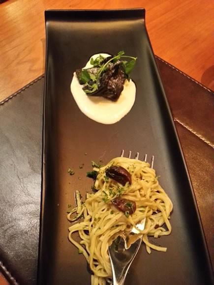 Black Garlic Tagliolini, Black Cod, Celeriac Mash
