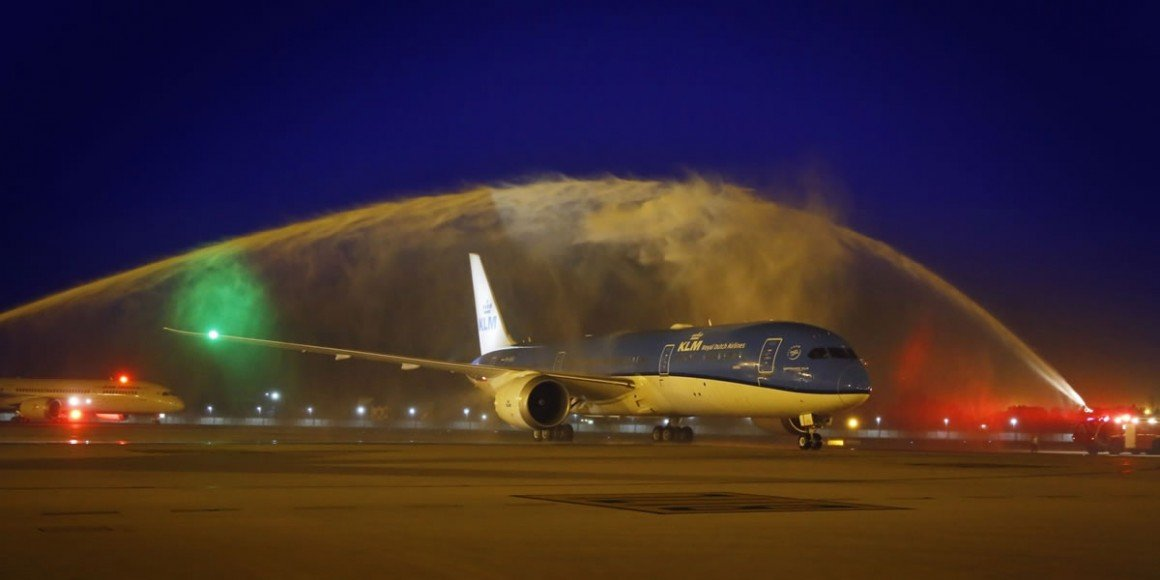 'Dahlia' - getting a water cannon salute at Delhi's IGI airport.
