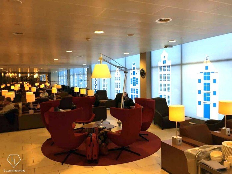 KLM's luxurious lounge at Schiphol airport.