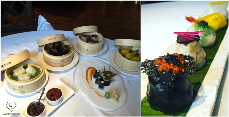 Dim sums in bamboo baskets. & Chive and Oscietra Caviar, Chicken and Truffle, Prawn in Kaffir Lime Pesto
