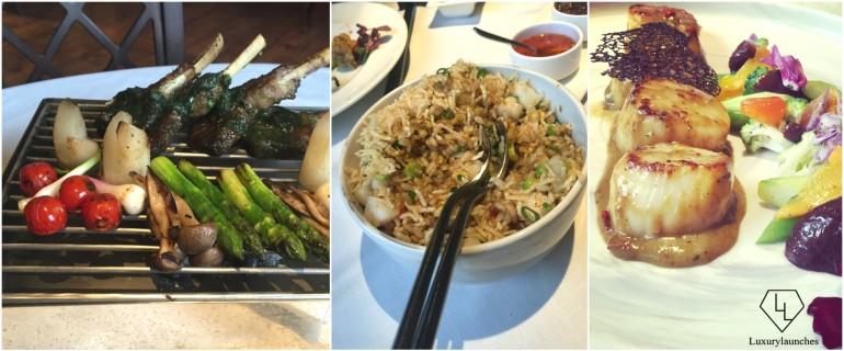 BBQ Lamb Chops. - Stir fried seafood rice. - Hokkaidu Scallops and Enokitake Mushrooms
