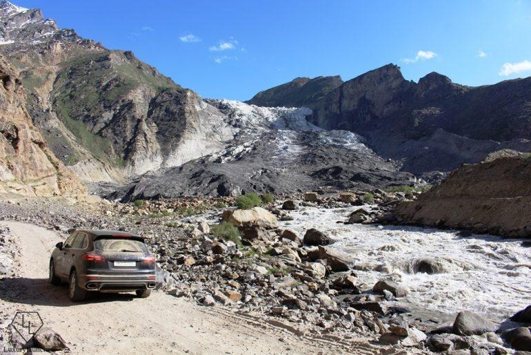 By the Parkachik glacier ~ enroute Rangum