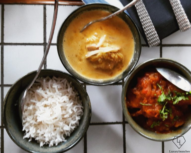 Railway Mutton Curry and Malaysian Chicken Korma with Steamed Rice