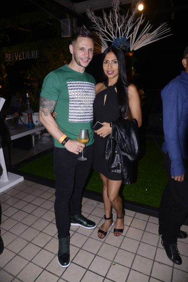 Candice Pinto with her husband at the Belvedere Relearn Natural Party