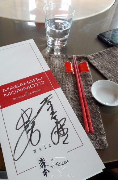A menu to treasure: Signed by Chef Morimoto to remind us of the specially crafted meal