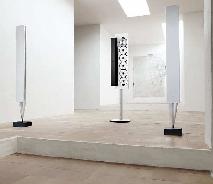 bang and olufsen limited edition beosound 9000 music system and a white pair of beolab 8000. Black Bedroom Furniture Sets. Home Design Ideas