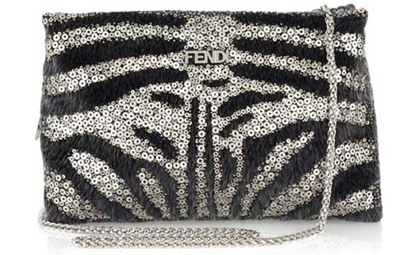 7ed78b47c6 Black and silver calfhair and sequin shoulder bag from Fendi is chic