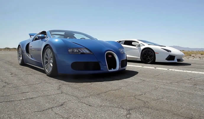 Battle of the supercars - Bugatti Veyron vs Lamborghini Aventador vs