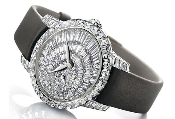 Girard perregaux cat s eye jewelry wrist watch dazzles in emerald cut diamonds for Jewelry watches