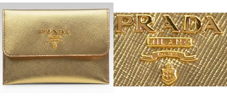 Prada Leather Credit Card Case glows in gold!