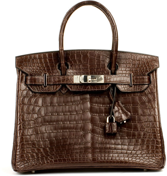 birkin cost hermes - 2008 Hermes dark brown crocodile Birkin bag sold for $59,000 at ...