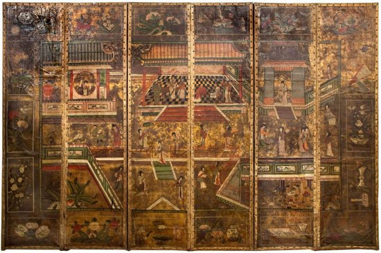 Antique-Chinoiserie-Leather-Gilt-Screen-thumb-550x366