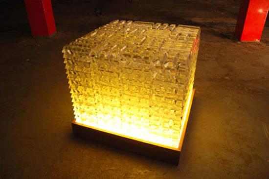 Crystal Bricks Shaped Like Gold Bars Add A Rich Glow To