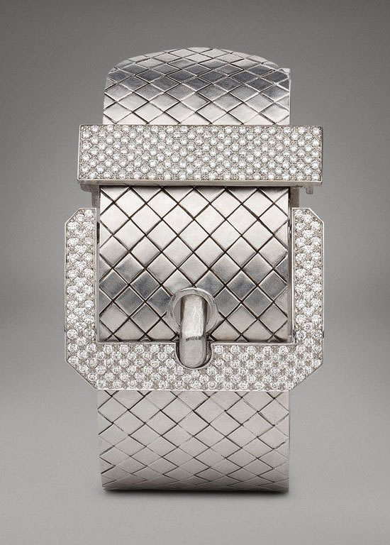Bottega-Veneta-White-Gold-Diamond-Buckle-Bracelet