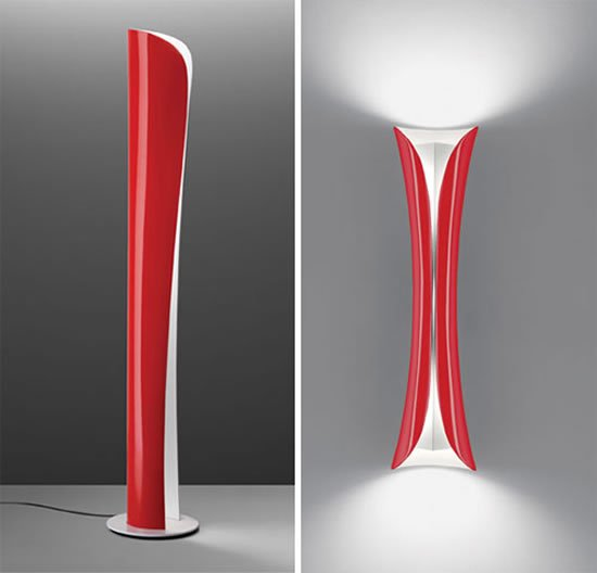 karim rashid designs red cadmo lamps for artemide