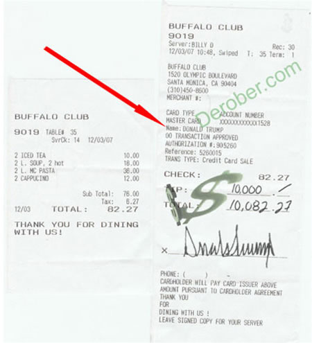 Only Donald Trump can tip $10,000 for an $82 meal : Luxurylaunches