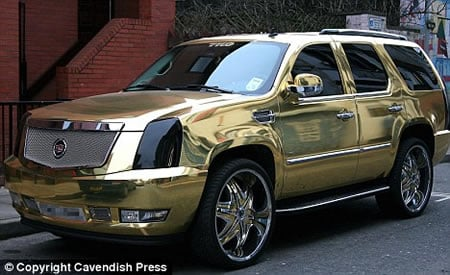 Gold Painted Cars And Fame Has A Lot To Do With Each Other Atleast So It Seems When We Saw This Metallic Cadillac Owned By Football Star El Hadji