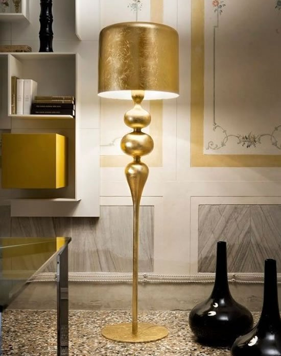 Eva Gold Lamps Topped With Golden Lamp Shades Shed Light