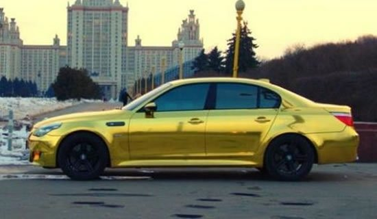 A Shimmering Gold Plated Bmw M5 Spotted In Russia
