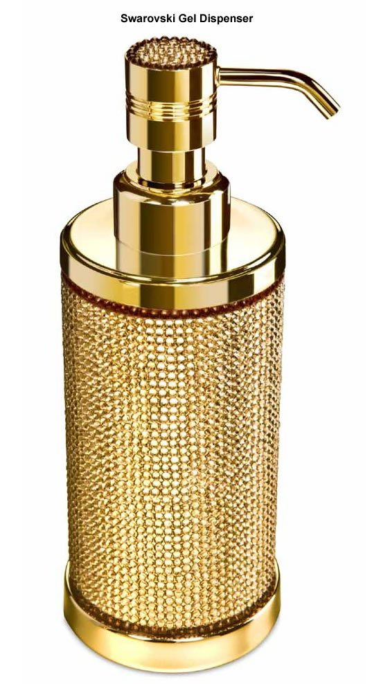 Gold plated bath accessories glamorized with swarovski for Gold bathroom accessories
