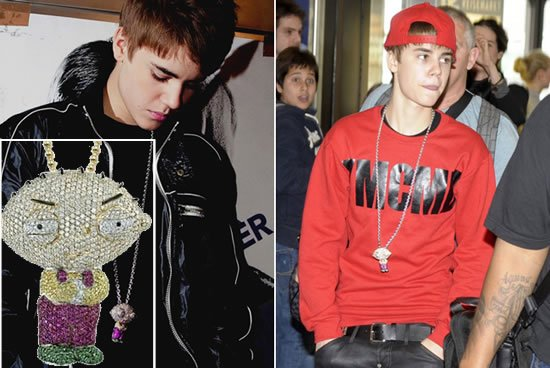 Justin bieber turns jewelry designer with a stewie griffin necklace haters can hate justin bieber all they want but he just added another notch to his belt after singing and dabbling in acting the current heartthrob to aloadofball Choice Image
