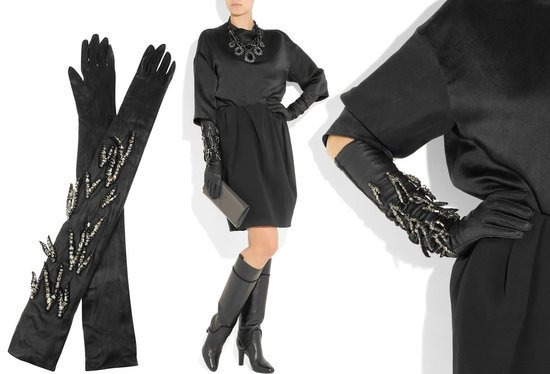 Lanvin S Crystal Embroidered Long Leather Gloves Make An
