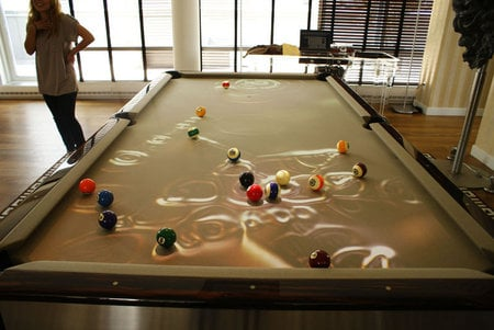 Obscura cuelight adds entertainment to a game of pool for for Expensive pool tables