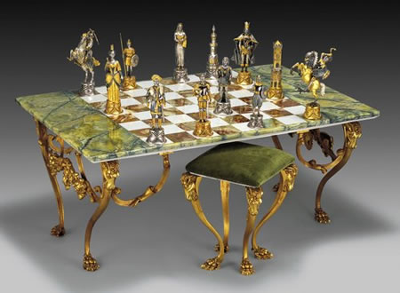 Expensive Gold And Silver Onyx Rectangular Chess Table And