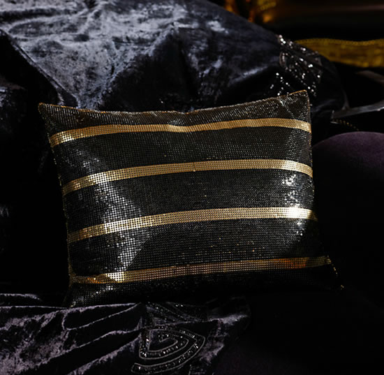 Ralph Lauren Pillow Glamorizes The Couch With Golden Strips