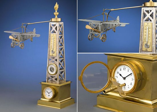Rare-French-Automaton-Industrial-Airplane-Timepiece-thumb-550x394