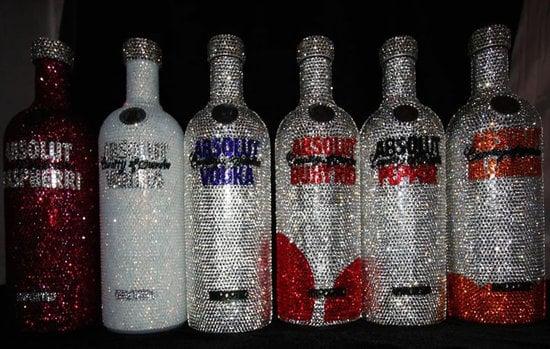 Swarovski Studded Absolut Bottles Shimmer Without Alcohol