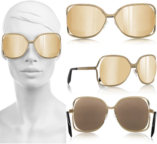 1a335b7c35a5 Victoria Beckham sunglasses bling up with gold coated mirrored lenses -