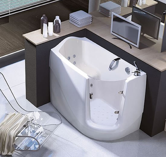 Walk In And Sit Down For A Refreshing Bath In A Compact Sit Down Tub By Treesse