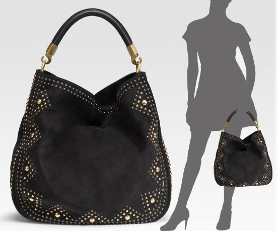 A Classy Yves Saint Laurent Roady Studded Suede Hobo Bag